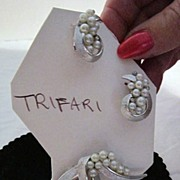 Vintage Trifari Clip on earrings and Broach with Faux Pearls