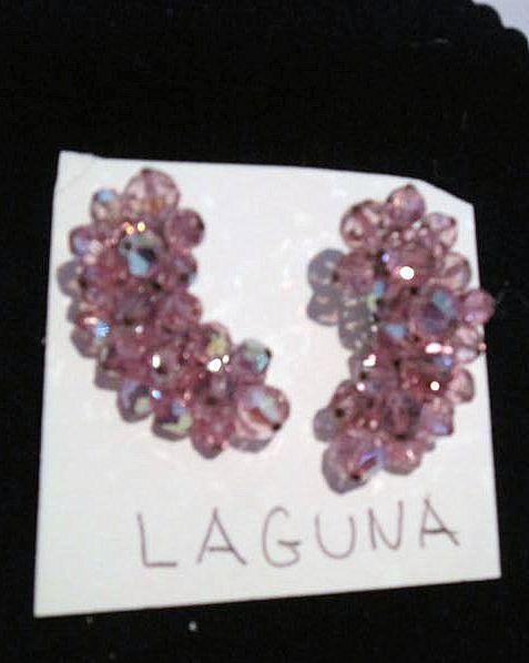 Vintage Laguna Pink Crystal Clip on earrings