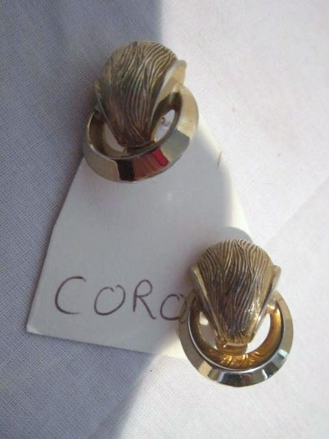 Vintage Gold Tone Clip on Earrings by Coro