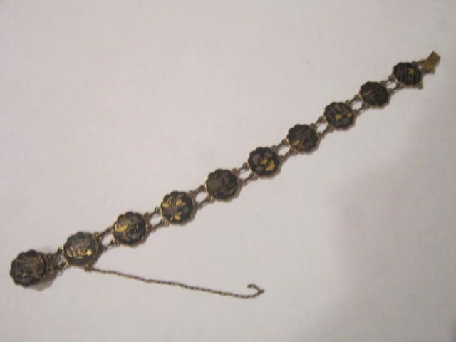Vintage Japanese Komai Shakudo Damascene Bracelet inlaid with Gold and Silver