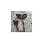 Vintage Japanese Komai Shakudo Drama-scene Jewelry 2 Butterflies Pin
