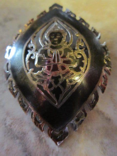 Vintage Siam Niello Silver Pin