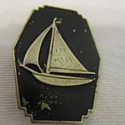 Vintage Black Enamel Pin with Sailboat