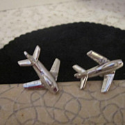 Vintage Jet Airplane Cufflinks by Swank