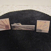 Vintage 3 Piece Cufflink and Tie Bar Set