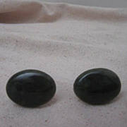 Vintage Dark Green Jade Pair of Cufflinks
