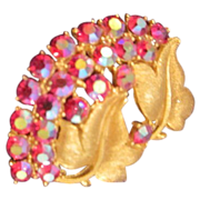 Gold Tone and Red Aurora Borealis Rhinestone Brooch