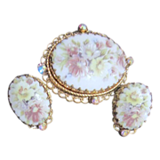 Vintage Beautiful Hand Painted Brooch and Clip Earrings from W. Germany
