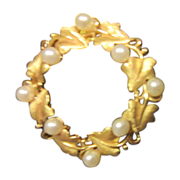 Trifari Leaf Circle Pin with Faux Pearls