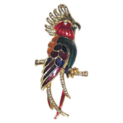 Multi-Colored Enameled Cockatoo Brooch