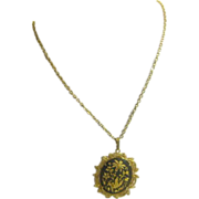 "23"" Chain with Goldtone & Black Oriental Pendant with Filigree Edging"