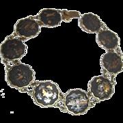 Japanese Komai Shakudo Damascene Bracelet Inlaid Gold & Silver