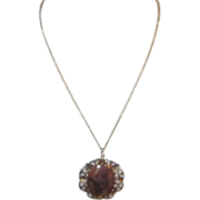 Polished Stone Cabochon Cut Pendant Gold-tone Filigree Setting