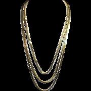 Gold Tone Triple Strand Chain Necklace