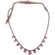 Pink Rhinestone Necklace and Bracelet