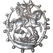 Silver Brooch/Pin of St. George Slaying the Dragon marked 800