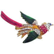 Multi-Colored Bird Brooch