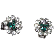 Green and Clear Rhinestone Clip Earrings