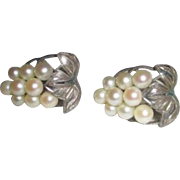 Japanese White Akoya Cultured Pearl Grapes and Leaves Sterling Earrings