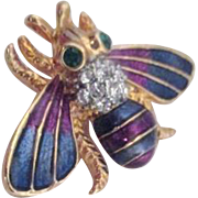 Goldtone Enamel and Rhinestone Flying Bug Brooch