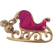 Enamel Red Sleigh Christmas Pin