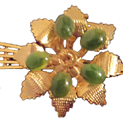 Jade and Gold Tone Pin