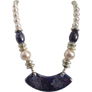 Faux Pearls and Blue Ceramic Necklace