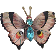 Petite Hand Painted Butterfly Pin with Rhinestone Body from Czechoslovakia