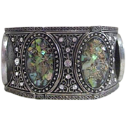 Bracelet with Movable Medallions Mother of Pearl Malachite and Rhinestones
