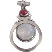 Sterling Silver Pendant with 2 Inlaid Cabochons