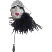 Fabulous Flapper Face Stick Pin from France