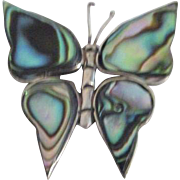 Sterling Silver and Mother of Pearl Butterfly Pin