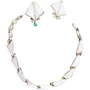 Lisner White and Goldtone Necklace and Clip-on Earring Set