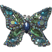 Weiss Blue and Green Rhinestone Butterfly Pin