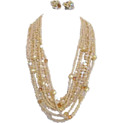 Beige and Light Golden Plastic Bead Necklace and Clip-on Earring Set