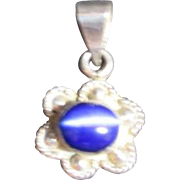 Silver Tone Pendant with Blue Glass Made in Mexico
