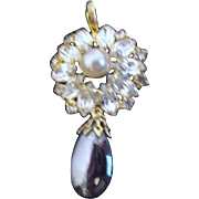 Rhinestone with Faux Pearl and Dangling Hematite Pendant