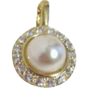 Rhinestone with Faux Pearl Pendant