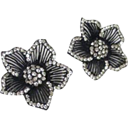 Pair of Black Flowers Edged with Rhinestones Clip-on Earrings by Thelma Deutsch