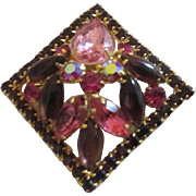 Weiss Pink and Purple Square Rhinestone Pin/Brooch