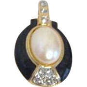 Enhancer or Pendant of Faux Pearl, Black Enamel and Rhinestone by TAT
