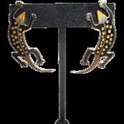 Laurel Burch Pair of Lizard Earrings for Pierced Ears