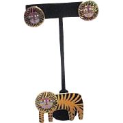 Laurel Burch Pair of Earrings for Pierced Ears and Pin/Brooch Tigers