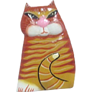 Laurel Burch Wooden Pin Orange Cat