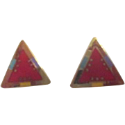 Laurel Burch Pair of Earrings for Pierced Ears Triangle Red and Goldtone