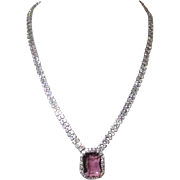 Rhinestone Necklace with Amethyst Centerpiece
