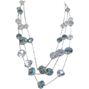 Three Strand Necklace with Multi-Faceted Crystals