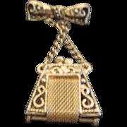 Goldtone Tiny Purse Pin/Brooch
