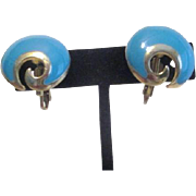 Unsigned Turquoise-Colored Pair of Clip  Earrings