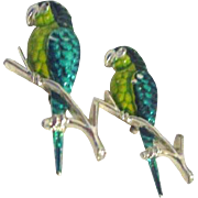 Pair of Green Parrot Pins